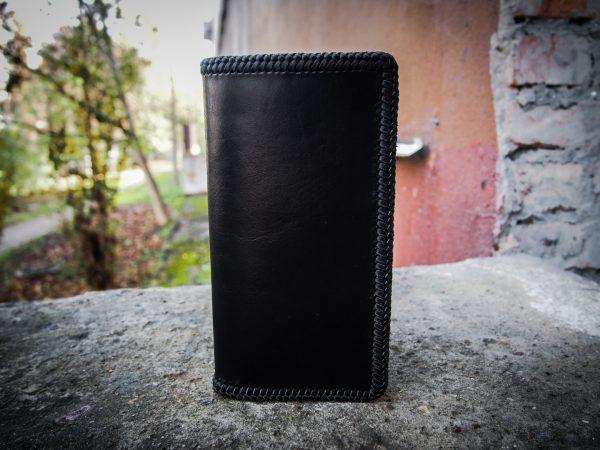 черный кожаный тревел кошелек с тесьмой фото 4