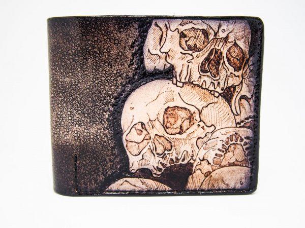 кожаный кошелек с черепом отличный подарок байкеру фото 1