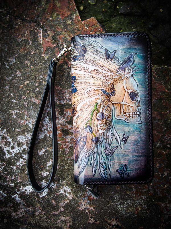 кожаный женский кошелек клатч на двойной молнии с черепом фото 9
