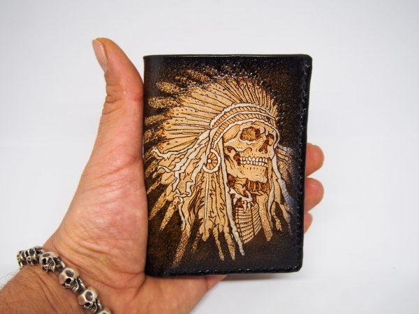 кожаный кошелек тройного сложения с индейцем фото 13