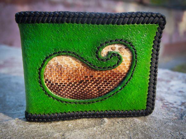 зеленый кожаный кошелек фото 7