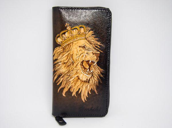 кожаный кошелек на молнии лев фото 7