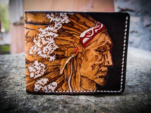 кожаный бумажник с индейцем фото 7