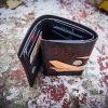 кожаный компактный кошелек тройного сложения с самолетом фото 5