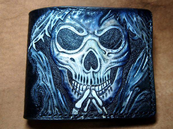 кожаный бумажник череп фото 1