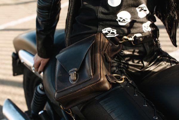 байкерская сумка коричневая фото 1