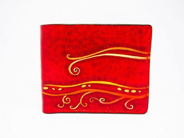 женский красный кожаный кошелек с рисунком фото 6