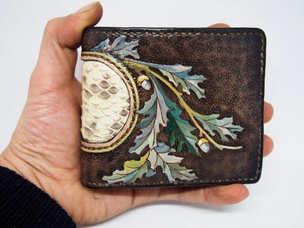 женский кожаный кошелек со вставкой из кожи питона фото 1