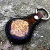 кожаный брелок с пионом фото