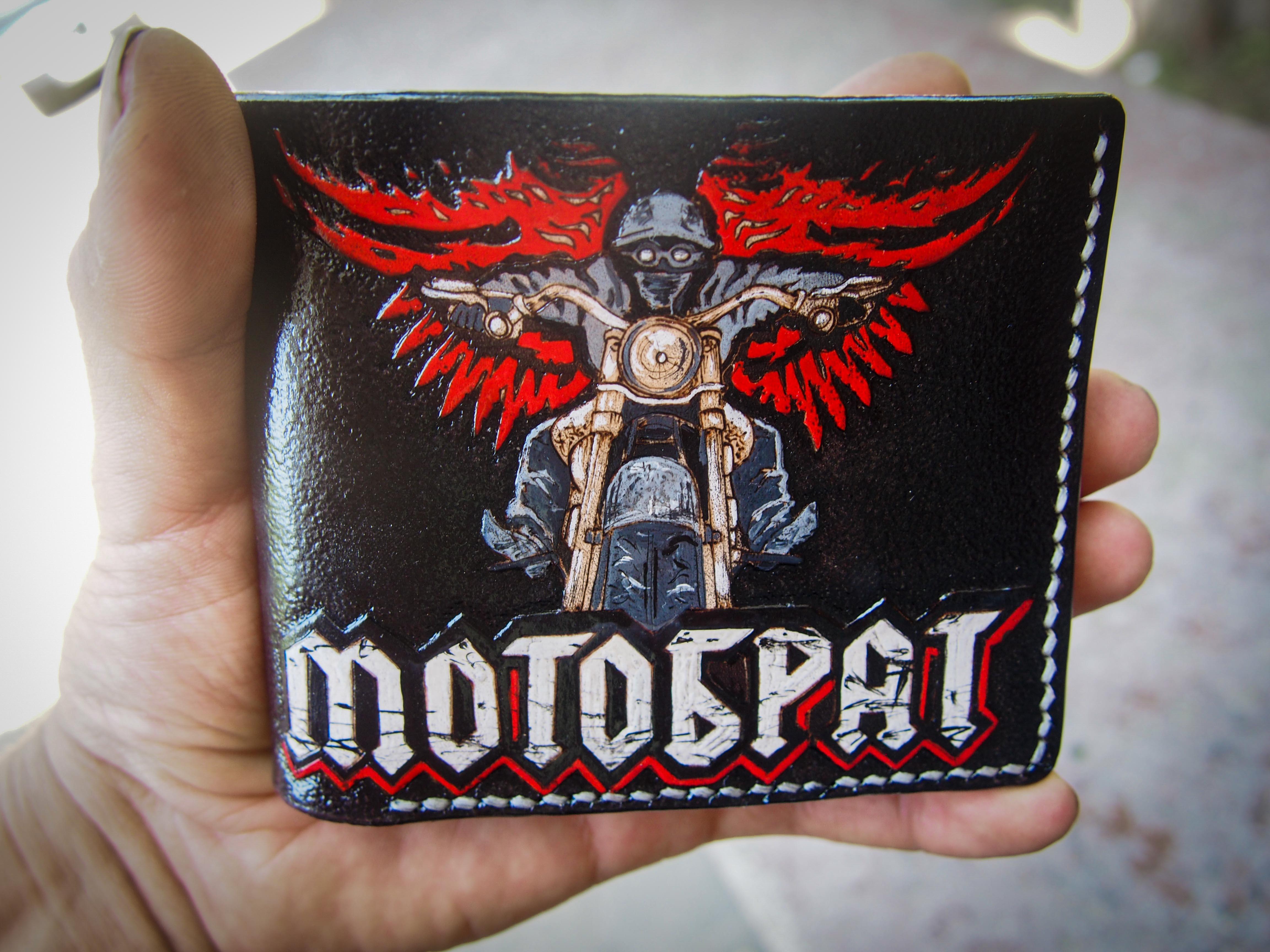 Коженый кошелек с логотипом мото-клуба фото 9