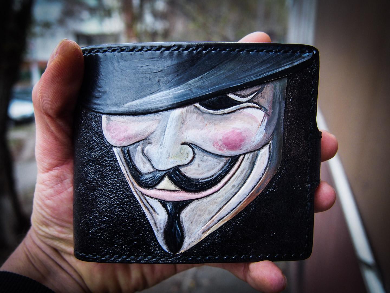 Кожаный мужской кошелек Вендетта фото 11