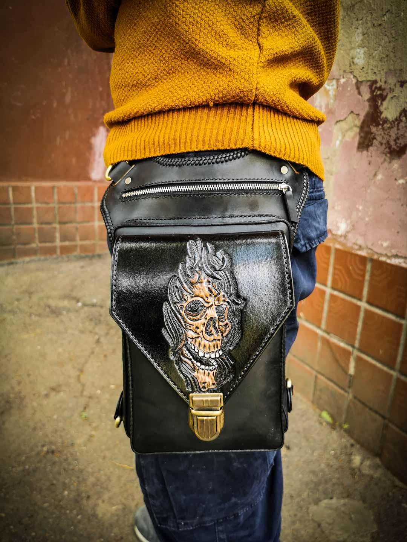байкерская кожаная сумка мотоциклиста фото
