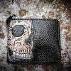 Кожаный кошелек на молнии с черепом фото 2