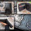 Кожаный кошелек на молнии с черепом фото 9