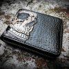 Кожаный кошелек на молнии с черепом фото 3