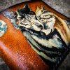 Кожаный кошелек пара волков фото 1