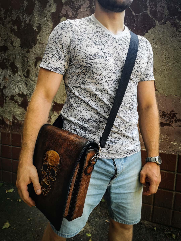 Кожаная сумка с черепом через плечо фото 16