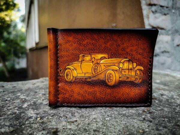 Кожаный зажим с ретро авто фото