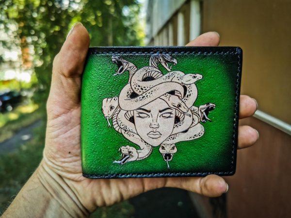 Кожаный зеленый кошелек Медуза Гаргона фото 3