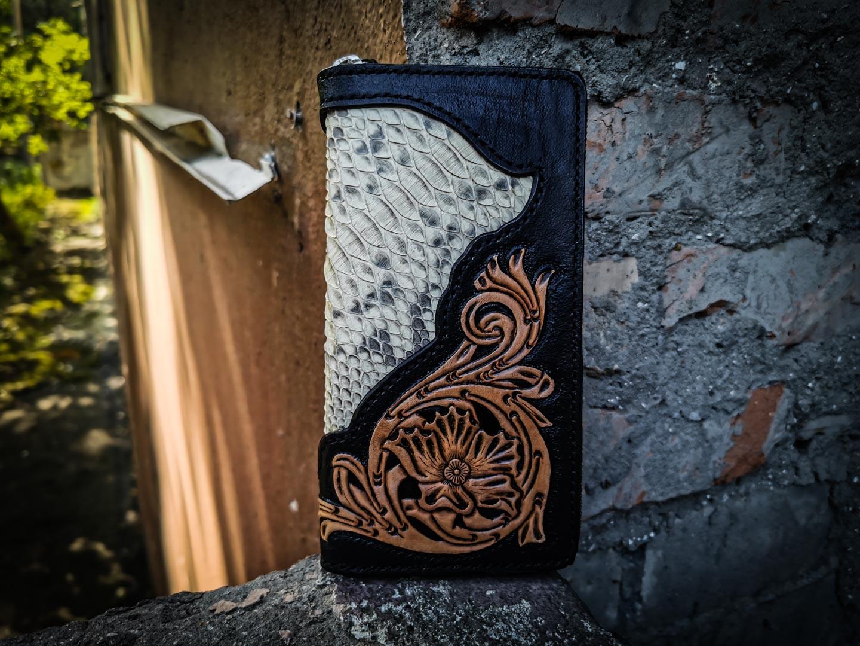 Кожаный кошелек с орнаментом и кожей питона фото 8