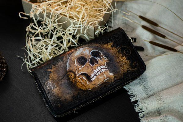 мужской черный кожаный кошелек клатч на двойной молнии с черепом фото 1