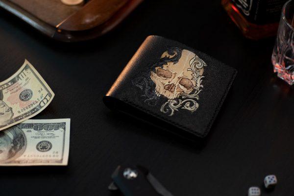 черный кожаный кошелек череп черное и белое фото 3